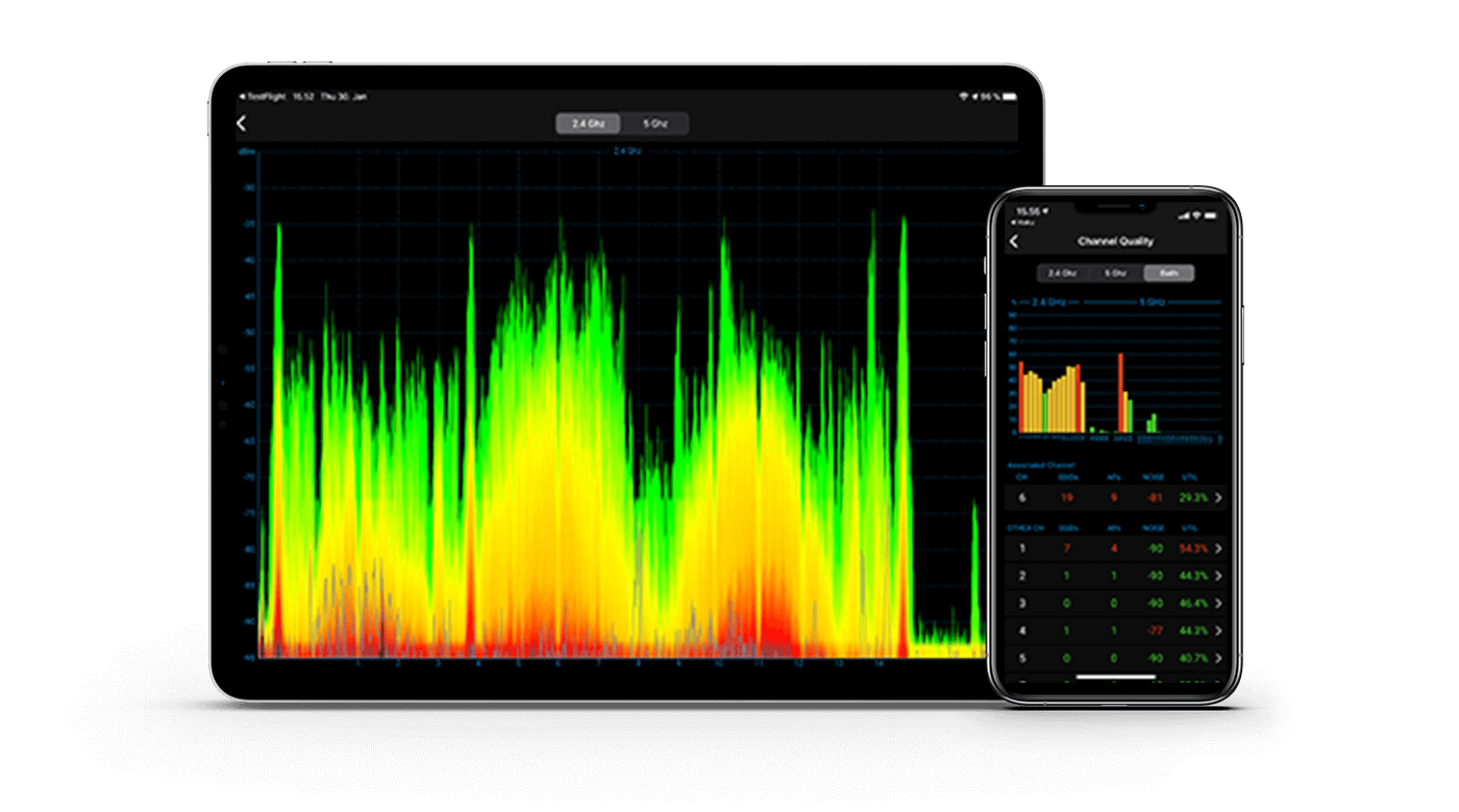 Ekahau Analyzer on tablet and phone
