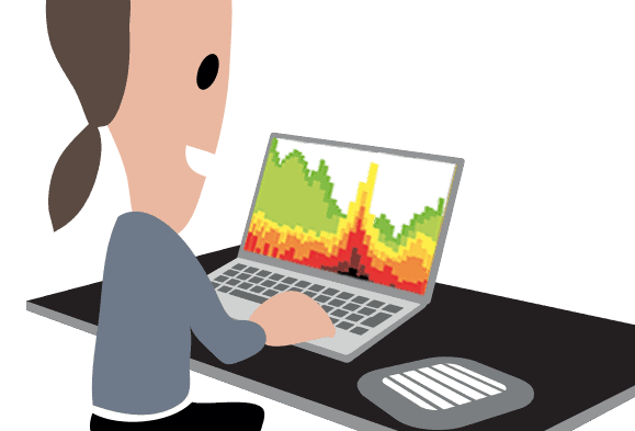 Woman on laptop viewing Wi-Fi spectrum analysis